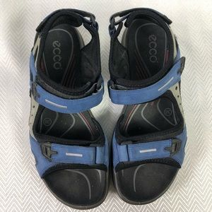 Ecco Yucatan Blue and Black Sandals Size 38
